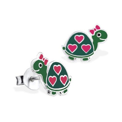Sterling Silver Enamel Earrings - Love A Turtle