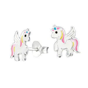 Sterling Silver Enamel Earrings - Unicorn