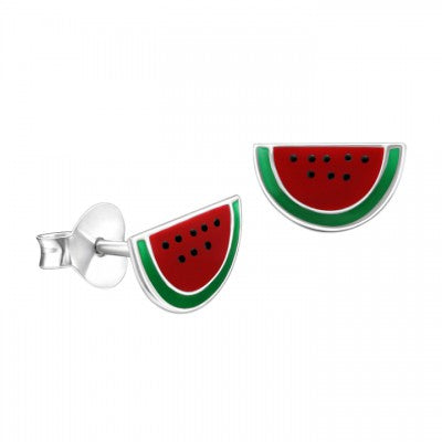 Sterling Silver Enamel Earrings - Watermelon