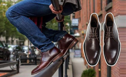 oxblood burgundy brown boots with blue jeans