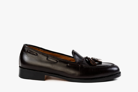 oxblood mahogany brown tassel penny loafers