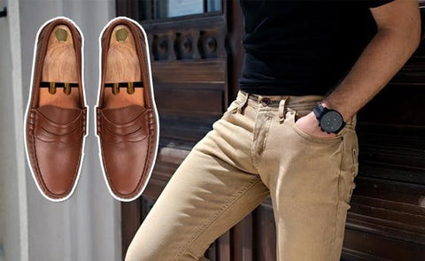 brown penny loafers with khaki pants