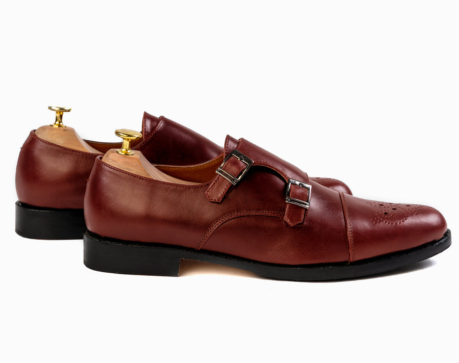Grand Double Monkstraps - Chestnut Brown - Marquina Shoemaker