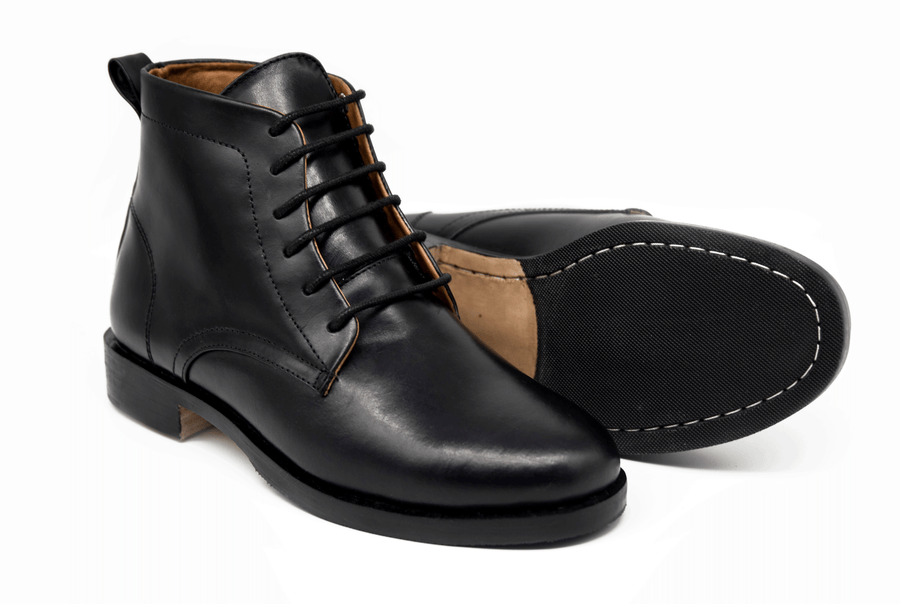 Ramos Lace Up Work Boot - Black Noir - Marquina Shoemaker