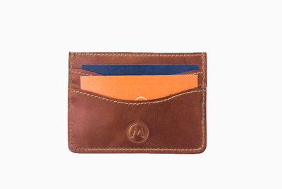 Marquina Full Grain Leather Card Holder - Country Brown Front
