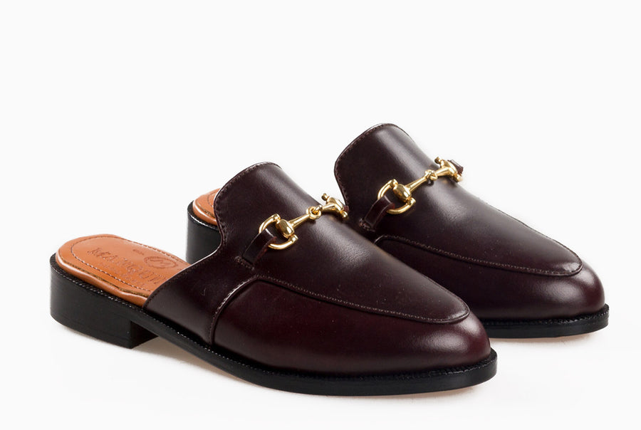 The new casual loafers for women - mule inspired burgundy design from Marquina Shoemaker