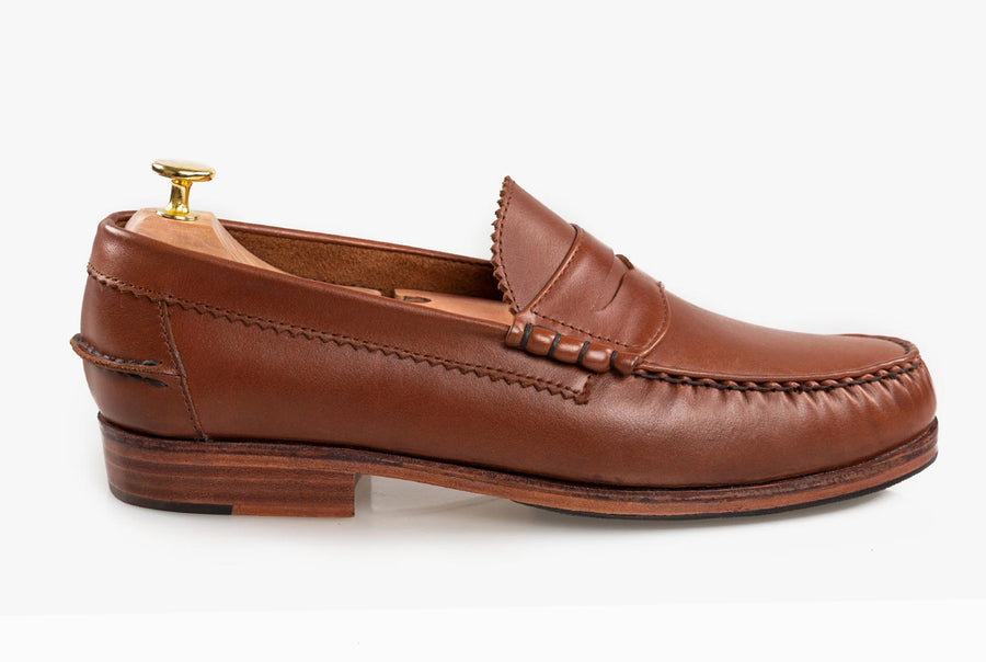 The Grand Penny Loafers - Chestnut Brown - Marquina Shoemaker