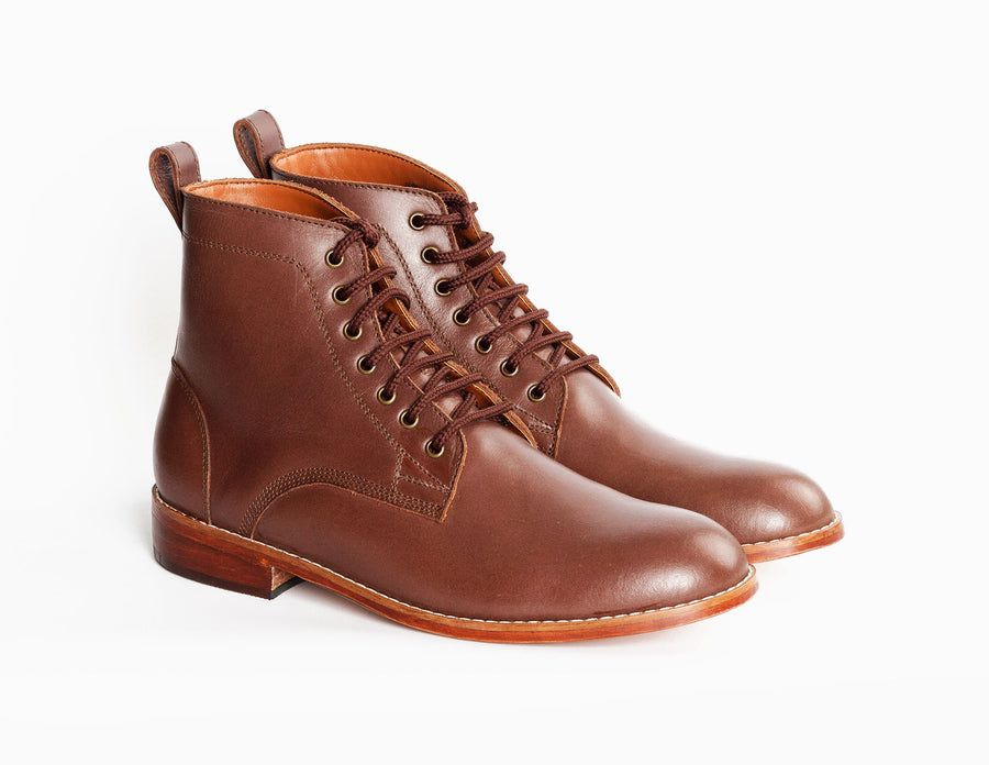 Ramos Lace Up Work Boot - Mahogany Brown - Marquina Shoemaker