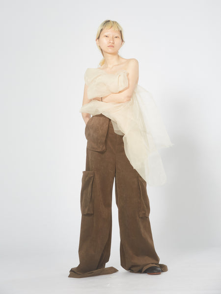 Chocolate multi pockets flare pants