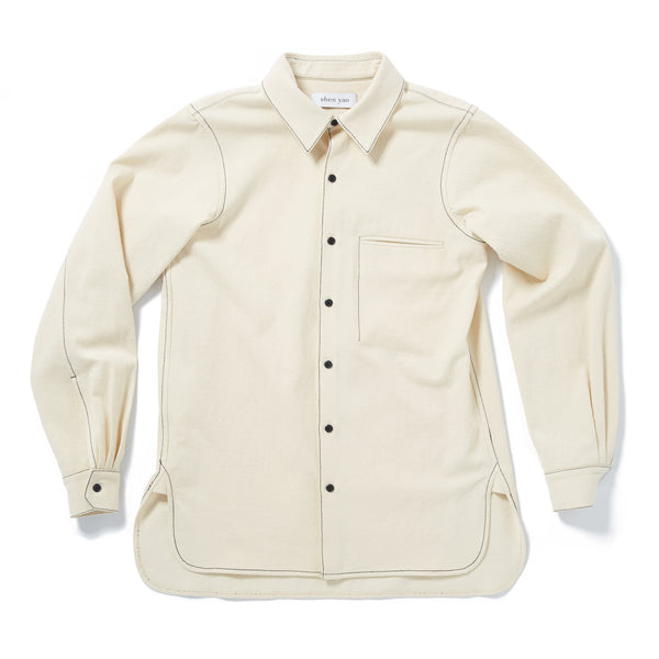 shen yao Calico white chest pocket shirt