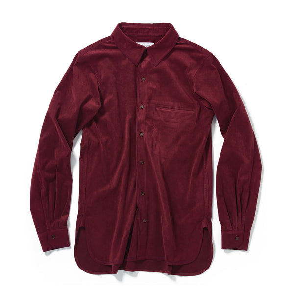 Burgundy suede chest pocket shirt