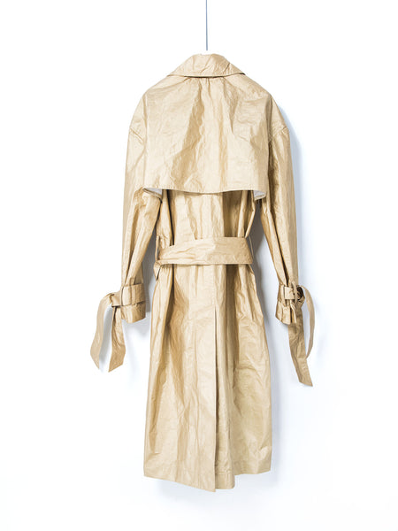 Pale gold Tyvek maxi trench coat, Coat, shen yao