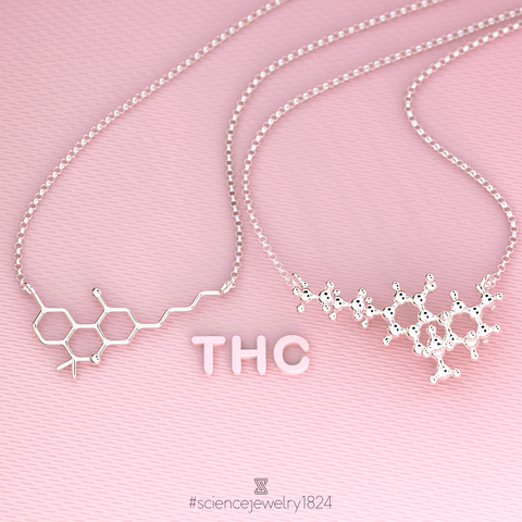 THC necklace in sterling silver - science jewelry