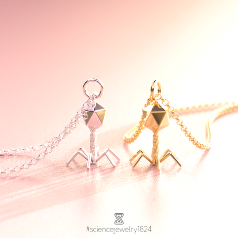 bacteriophage necklaces - science jewelry