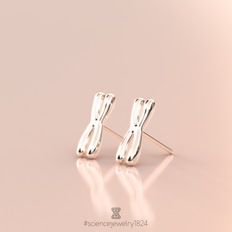chromosome studs in sterling silver