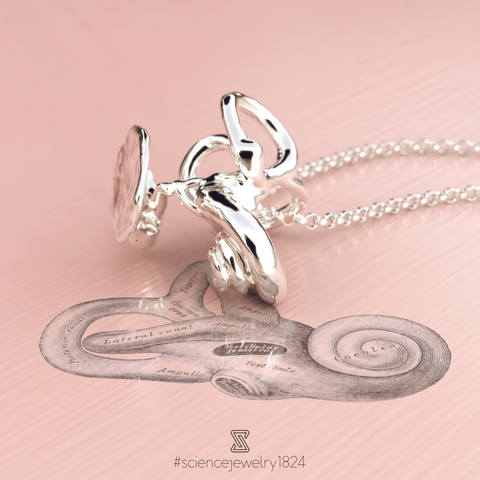 inner ear anatomy necklace in sterling silver - science jewelry