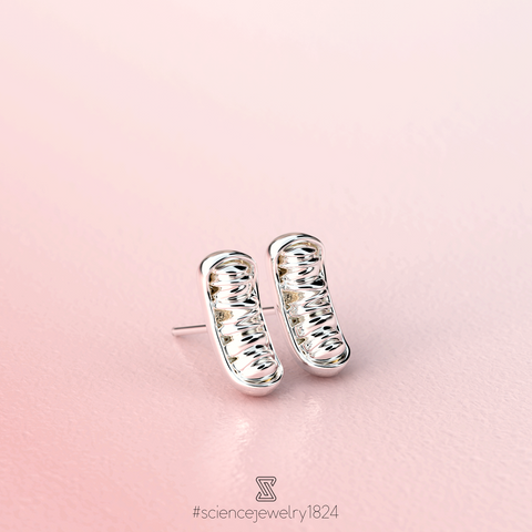 mitochondria studs in sterling silver