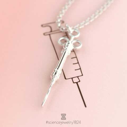 syringe necklace in sterling silver - science jewelry