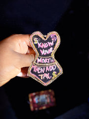 "Get Fab ""Know Your Worth"" Chic Brooch"
