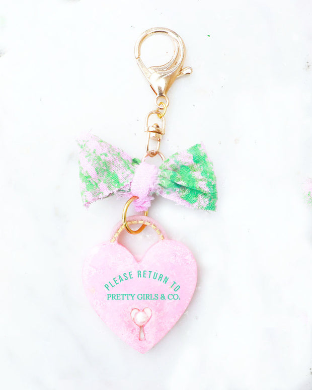 Pretty Girls & Co. Rose & Pearl Heart Pendant Purse Charm