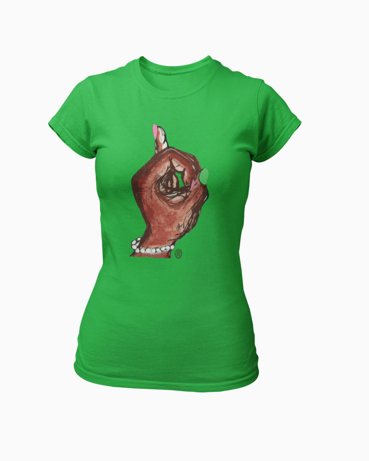 The Pinky Up Hand® Fitted Ladies' Crewneck T-Shirt