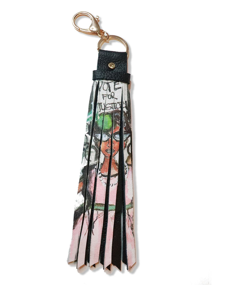 IVIES FOR CHANGE™  PAINTING LEATHER TASSEL CHAIN
