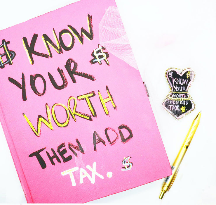 """KNOW YOUR WORTH"" Scrapbook Journal + Brooch Set"