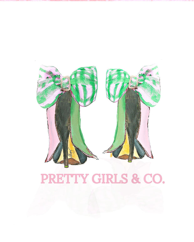 Pretty Girls & Co. Satin Bow Heels Print