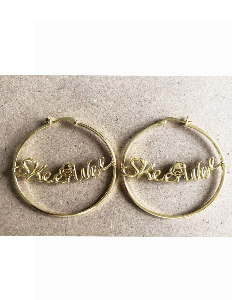 Skee Wee®️  Sterling Silver Hoop Earrings Gold