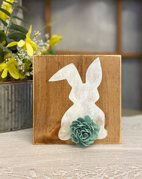 Rustic Bunny Silhouette Block Sign With Wooden Flower