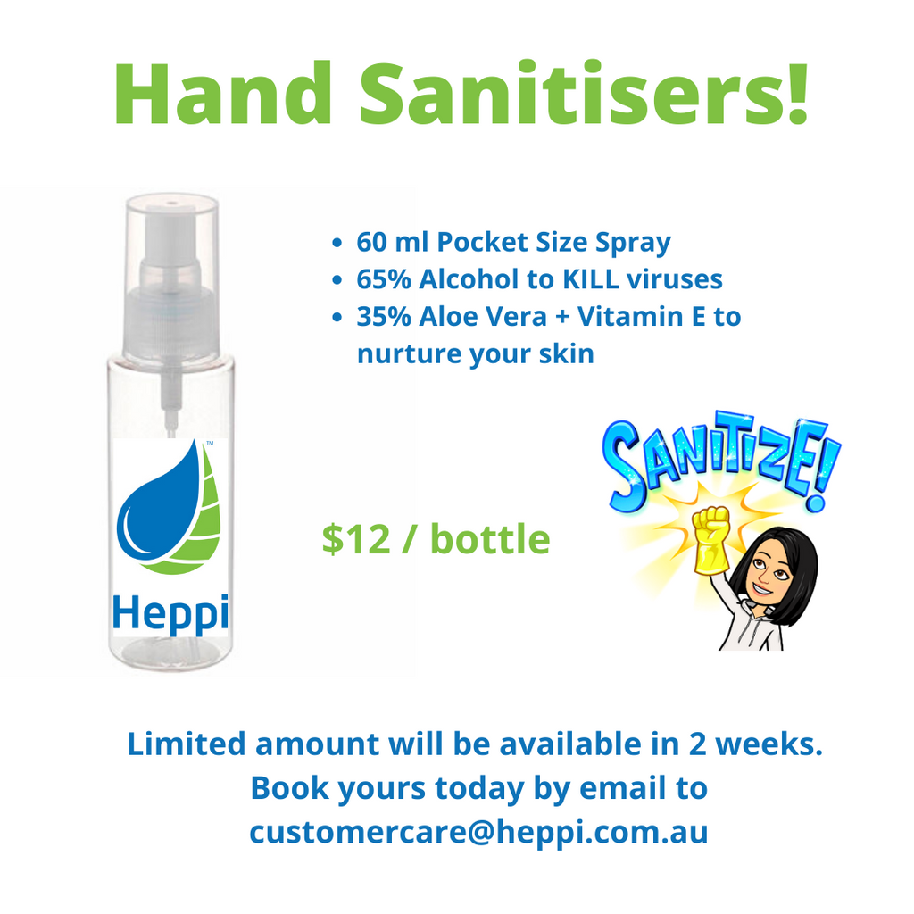 Heppi Hand Sanitiser, book yours now.