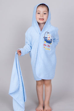 Kinder-Bademantel + Handtuch + Waschlappen-Set «Rabbit» blau