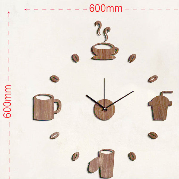 Wandtattoo Wanduhr «Kaffeezeit» in Holz-Optik mit 3D Ziffern