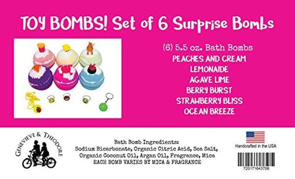 TOY BATH BOMBS for KIDS—Gender Neutral — 5.5 BUBBLE BOMBS— toy Bath Bomb, you, surprise...