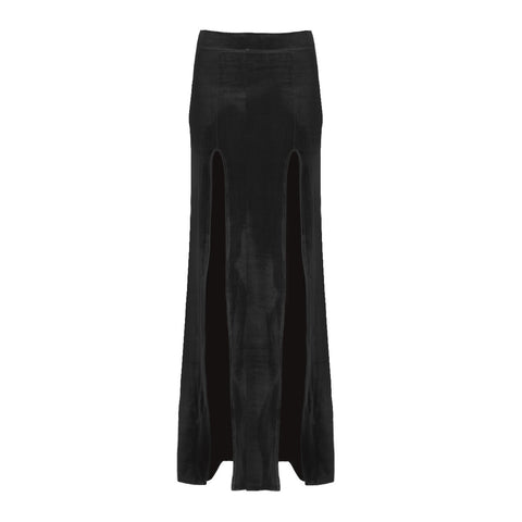 Velvet High Slit Skirt