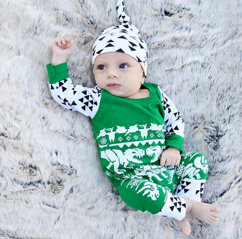 Baby dinosaur long sleeve romper 2pcs - BabyRebate