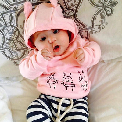 Pinky hooded clothing set