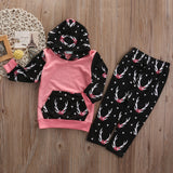 Floral hoodie 2pieces clothing set