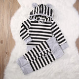 Trendy stripped 2 pieces clothing set with hoodie