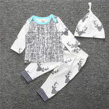 Gray deer 3 pieces clothing set