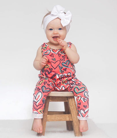 Colorful heart baby romper