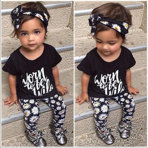 Born to be wild baby girl clothing set - BabyRebate