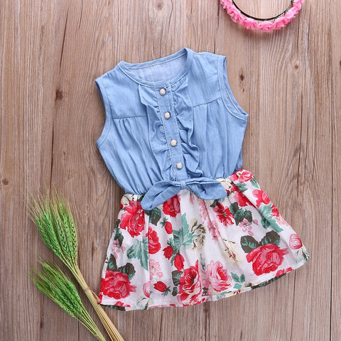 Flower dress denim - BabyRebate
