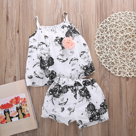 Flower summer girl clothing set - BabyRebate