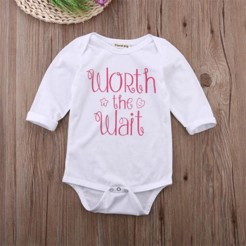 Worth the wait baby girl romper - BabyRebate