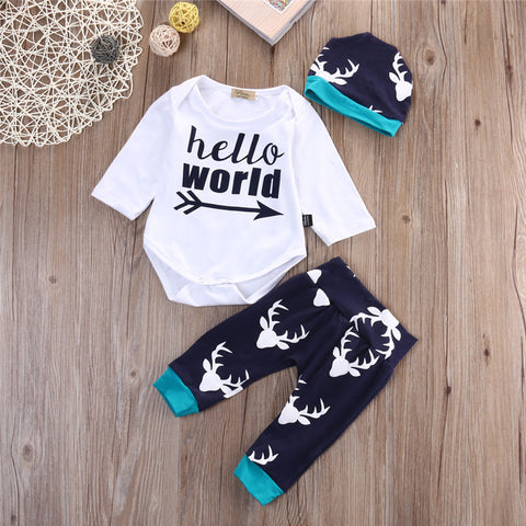 Hello World 3 pieces clothing set - BabyRebate