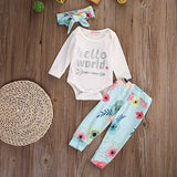 Hello world baby girl 3pcs clothing set