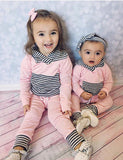 Trendy stripes 2pcs clothing set