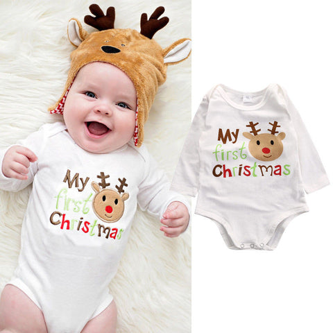 My first Christmas baby romper