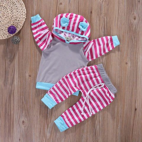 Fashion striped hooded baby clothing set